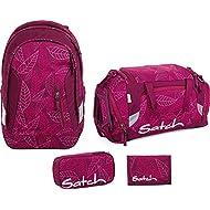 Satch Sac à dos d'écolier Set de 4accessoires avec Sleek Purple Leaves 9h3Purple Leaves