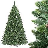 FairyTrees künstlicher Weihnachtsbaum KIEFER, Natur-Grün, Material PVC, echte Tannenzapfen, inkl. Metallständer, 220cm, FT03-220