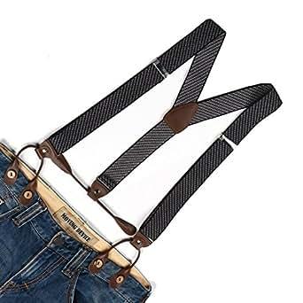 Enwis Suspenders Braces Polyester Elastic Adjustable Button Holes Stripe Silvery Grey Brown