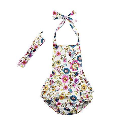 BeautyTop Baby Body 0-24 Monate,BBaby-Kurzarm-Gaze Bogen ein Jahr alt Kimono Kleid Overall Mehrfarbig FarbeStrampler Kleidung geknöpft Halfter Crossbody Harper Jumpsuit (Multicolor, 80)