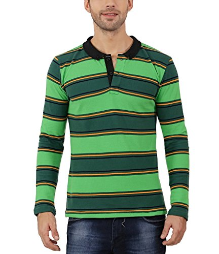Nick&Jess Mens Green Multi Striped Full Sleeve Polo T-Shirt  available at amazon for Rs.211