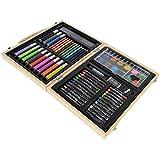 KandyToys ty699Arts Crafts Künstler Set in Holz Tragetasche Stifte Bleistifte Farben Pastells Kreiden