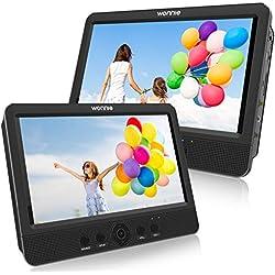 WONNIE 2020 Lecteur DVD Portable Voiture 2 Ecrans Enfants Vidéo avec Appuie-tête de 10,5 Pouces Compatible USB SD MMC 5 Heures pour Un Long Voyage(Deux Lecteur DVD)