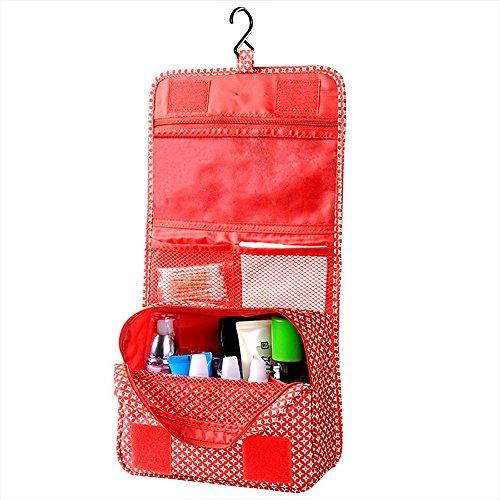 Contever® Femme Multifonctionnel Foldable Trousse de Maquillage Portable Hanging Organisateur Sac Cosmétique Pour Voyage - Rouge