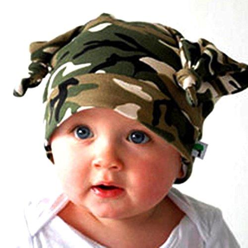 Beanie Baby GAP Kind Kleinkind lange Ohren Rollkragen Cap Horn verknotet Baby Hut Tefamore (Camouflage)