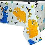 WERNNSAI Nappe Dinosaure - Fournitures de Fête de Dinosaurepour Les Enfants Garçons Anniversaire Mariage Baby Shower Décoration, 1 Pack Nappe en Plastique Imprimée Jetable, pour Table Rectangulaire