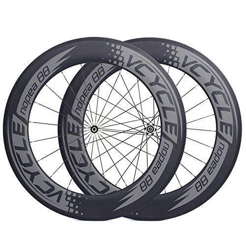 VCYCLE Nopea 700C Carbonio Racing da Strada Bike Ruote 88mm Tubolare 23mm Larghezza UD Opaca Raggiatura Tirare Dritto Shimano 8/9/10/11 velocità