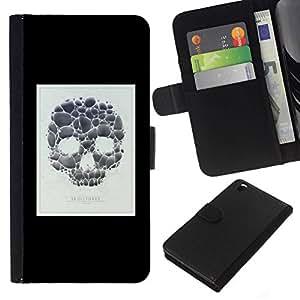 NICE GIFT GOOD PRESENT // Leder Geldbörse Schutzhülle Tasche Hülle HandyHülle Leather Wallet Case for HTC DESIRE 816 / Schädel-Plakat Minimalist Weiß Schwarz /