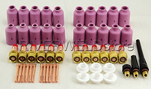 TIG Gas Lens Collet Body KIT Fit WP-17 WP-18 WP-26 SR-17 torche de soudage TIG 53pcs