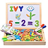 INNOCHEER Lavagna Magnetica per Bambini,i Legno Gioco, 110 Pezzi Numeri, Lettere e Figura con 5 Det di Pennarelli Colorati Cancellabili