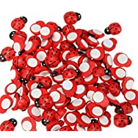 Dojore Pack of 100 Red 3D Wooden Ladybird Stickers (6mm x 10mm) Self Adhesive Ladybugs Scrapbooking Easter Card Toppers Wood DIY