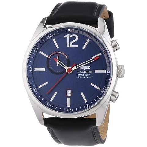 Lacoste  Austin - Reloj de cuarzo para hombre, con correa de cuero, color negro