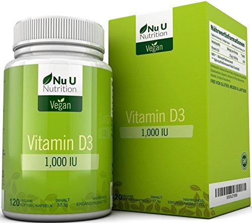 Veganes Vitamin D3 1.000 IE | 120 Vegane Softgelkapseln - Vorrat für 4 Monate | Vitamin D-Nahrungsergänzungsmittel Frei von Allergenen und Gentechnik | Hergestellt in Großbritannien von Nu U Nutrition