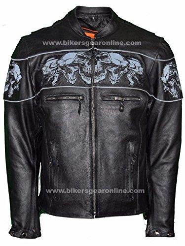 Hombres de equitación reflectante chaqueta de piel de calaveras cruzado con ventilación de grosor piel nueva Regular)