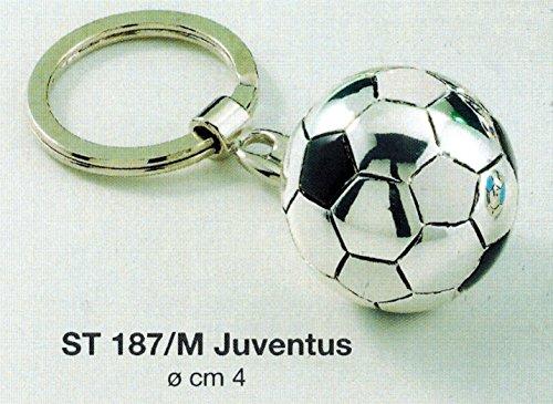 Portachiavi pallone squadra calcio juventus d cm4 laminato argento made in italy