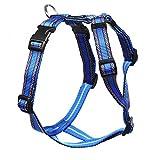 Feltmann Mopsgeschirr Hundegeschirr Soft Nylon, blau Muster, 7-13 kg, 20 mm