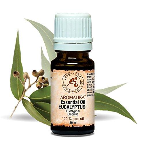 Eukalyptus Öl 100 % naturreines ätherisches 20 ml, Reine & Natürliche , Eukalyptusöl 0,66 oz Eucalyptus Globulus, China - besten für Beauty / Stressabbau /Baden / Körperpflege / Wellness / Schönheit / Aromatherapie / Entspannung / Massage / Inhalation / Aroma diffuser / Duftlampe /Aroma / Raumbeduftung / Kosmetik Unverdünntes/ Glasflasche, von AROMATIKA