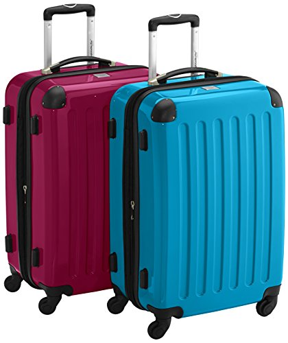 HAUPTSTADTKOFFER - Alex - 2er Koffer-Set Hartschale glänzend, 65 cm, 74 Liter, Magenta-Blau