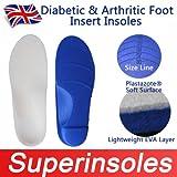 Orthopädische Einlegesohlen für Diabetiker & arthritischen Fuß, unterstützt das Fußgewölbe, für Plattfüße, komplette Länge, Herren