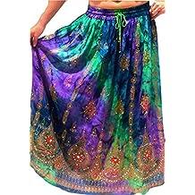 Colorido de las señoras de la India Boho Hippie gitano largo de lentejuelas de la falda del verano del rayón de danza del vientre étnico (1)