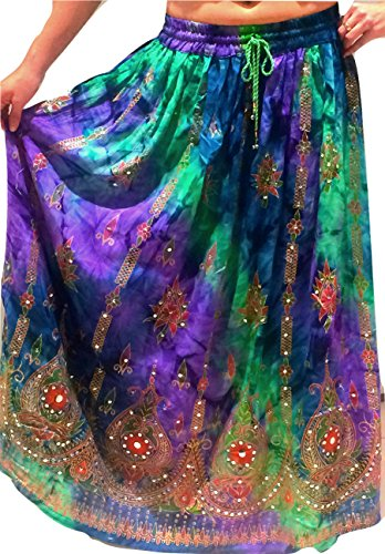 Dancers world ltd - gonna gitana colorata con paillettes, stile etnico, indie, hippie, gitano - per danza del ventre, per donna 1