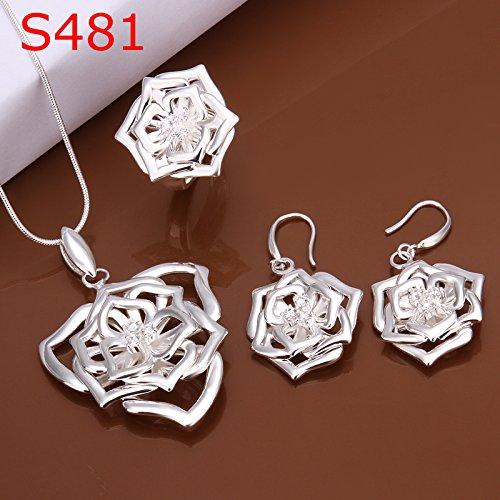 3-schicht-hochzeits-ring (Drei-Schicht-Blume Dreiteiligen Satz von Einfachen Blumen Silber Süße Dame Anzug , Silber)
