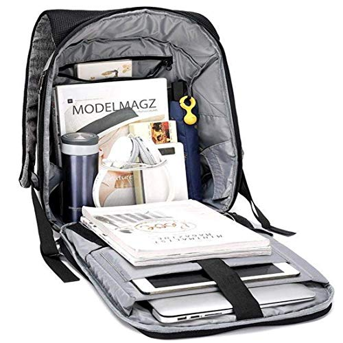 Best anti theft backpack in India 2020 SaleOnTM 15.6 Inch Laptop Anti-Theft Backpack with USB Plug Charging Port 30 Ltrs Fashion Business Bag for Men School College Office with Lock (Silver) - 1214 Image 6