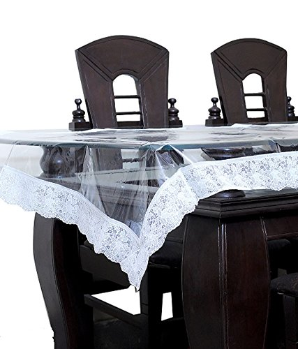 Kuber Industries™ Transparent Center Table Cover 4 Seater 40*60 Inches (Silver Lace)