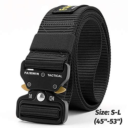 Fairwin Cinturón táctico, cinturones de estilo militar, correas de cinturón web con hebilla de metal de liberación rápida y alta resistencia (cintura 42'-46', Negro)