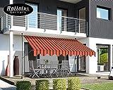 Rollolux Tenda da Sole Regolabile in Altezza, Resistente ai Raggi UV, con Braccio articolato e manovella, Protezione Solare, Tenda da Balcone, Arancio-Nero, Breite 350cm