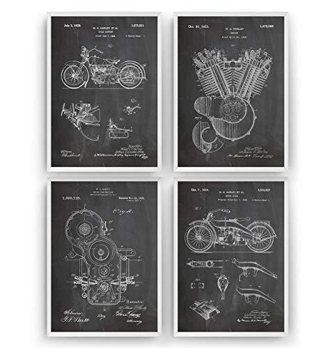 nt Poster - Set Of 4 Prints - Jahrgang Bild Drucke Kunst Geschenke Zum Männer Frau Entwurf Dekor Vintage Art Gifts For Men Women Blueprint Decor - Rahmen Nicht Enthalten ()