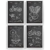 Harley Davidson Poster de Patente - Pack de 4 Láminas - Patent Póster Con Diseños Patentes Decoracion de Hogar Inventos Carteles Prints Wall Art Posters Regalos Decor Blueprint - Marco No Incluido