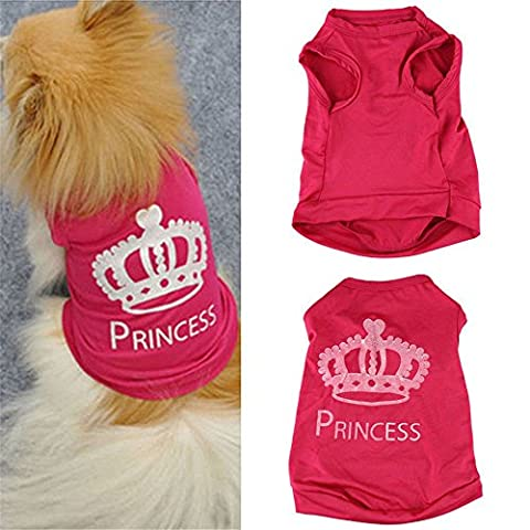 Generic Amazing Modisches Fabulous New Cute Hot Pink Pet Dog Princess Apparel T-Shirt Kleidung Weste Sommer Mantel Welpen Kostüme Outfit perfekt für Hunde und Katzen Tolles Geschenk für pets-lover (Größe: S)