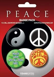 PEACE - Ying und Yang - 4 Stück Big-Buttons Badge pack Symbole - Grösse Ø3,8 cm