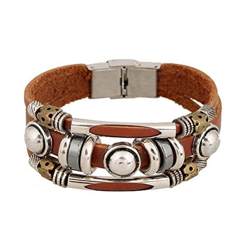 adiasen 1Stück handgefertigt Perle Totenkopf Rindsleder Vintage Punk Legierung Armband Armband für Frauen Herren Junge Mädchen verstellbar Schmuck Zubehör (Größe: 21* 1cm)