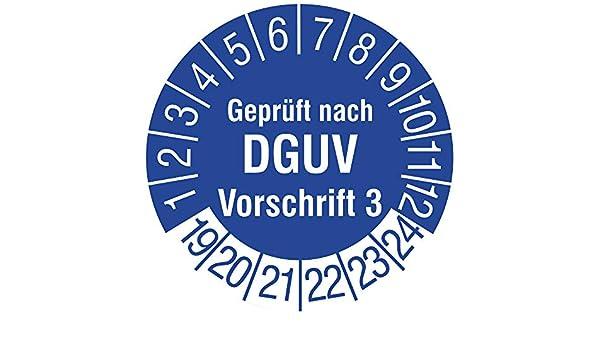 Vinylfolie blau Mehrjahrespr/üfplakette 180 St/ück Aufdruck wei/ß Zeitraum 2019-2024 /Ø 25 mm Gepr/üft nach BGV A3 Labelident Pr/üfplaketten