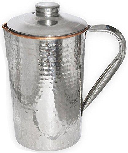 SKAVIJ Tsj_2 Trinkwasser Krug Gemacht Aus Außen Stahl Innen Kupfer 1.6 Liter - Deckel Mit Metall-krug