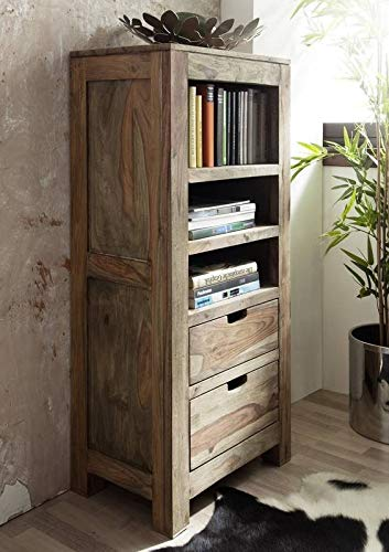MASSIVMOEBEL24.DE Sheesham massiv Holz Regal Palisander Möbel Massivmöbel Nature Grey #154