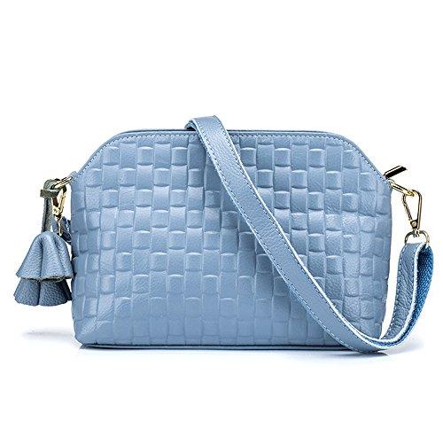 MeiliYH Borsa del Sacchetto di Spalla del Cuoio Genuino delle Signore di Sacchetto Tessuto nappa Tessuto per le Donne blu
