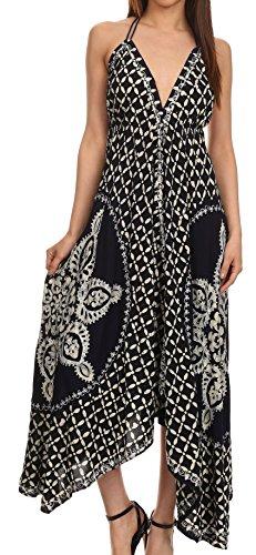 Sakkas 1456 - Shana Batik gesticktes Taschentuch Saum Verstellbare Halter Kleid- Navy/Cream-One Size