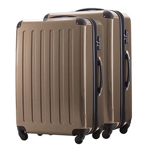 HAUPTSTADTKOFFER® 2er Hartschalen Kofferset · 2x Koffer 130 Liter (75 x 52 x 32 cm) · Hochglanz · Zahlenschloss · WEISS Champagner