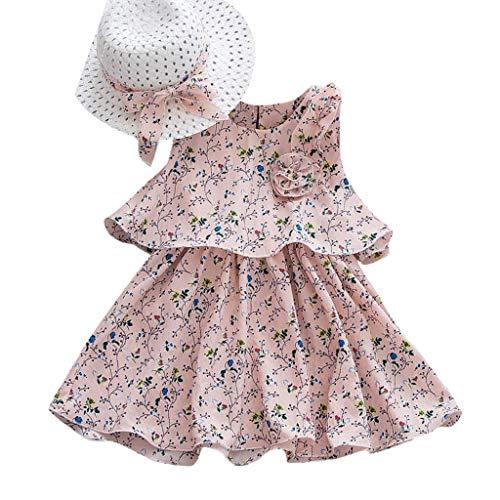 Fenverk MäDchen Baumwolle Streifen Tiere T-Shirt Kleid Cartoon Blumen Baby Sommerkleidung Infant Outfit äRmellose Prinzessin Gallus Kleinkind Swing(Rosa-01,18-24 Monate)