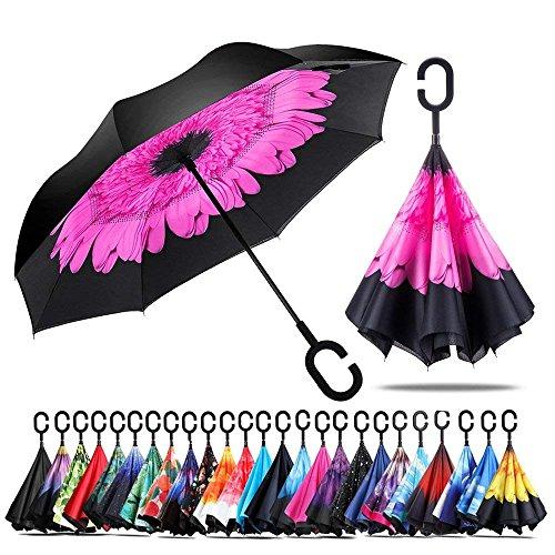 Jooayou Parapluie Inversé, Anti-UV Double Couche Coupe-Vent Parapluie, Mains Libres poignée en Forme C Parapluie (Perilla)