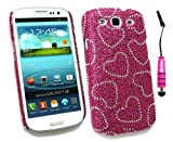 Emartbuy ® Stylus Pack Per Samsung Galaxy S3 I9300 Siii - Mini Metallico Hot Pink Stylus + Lcd Screen Protector + Diamante Duro Della Copertura Posteriore Hot Pink Hearts