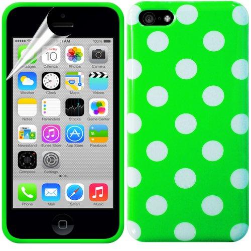 Gadget Giant Étui à rabat en gel Housse étui coque en caoutchouc et film protecteur d'écran pour iPhone 5C  - blanc - vert