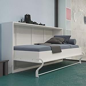 lit escamotable de 120 cm horizontal blanc smartbett armoire lit le lit mural pliant avec. Black Bedroom Furniture Sets. Home Design Ideas