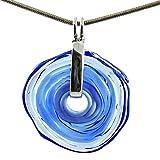 Kette in Blau mit Anhänger aus Murano-Glas | Glas-Wechsel-Schmuck | Unikat handmade | Geschenk zum Jahrestag Hochzeit Geburtstag Weihnachten Mama | Personalisiertes Geschenk