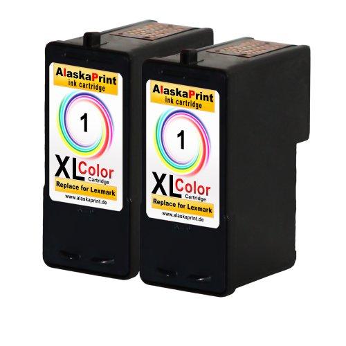 Preisvergleich Produktbild Premium 2x Kompatible Druckerpatronen Als Ersatz für Lexmark 1xl Color Farbig Colour für Lexmark X2310 X2315 X2330 X2350 X2450 X2470 X3450 X2320 X2340 X2360 X2370 Z735 X3470 Z730 X2300 X2380 X2380 X2390 X2400 X2460 X2465 Patronen 2x1-lex