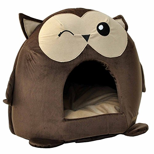 """nanook """"Sweety"""" – Hundehöhle Katzenhöhle – mit großem Kissen, wasserabweisend, rutschfest, Größe M (42 x 42 x 36 cm) – Motiv: Eule - 2"""
