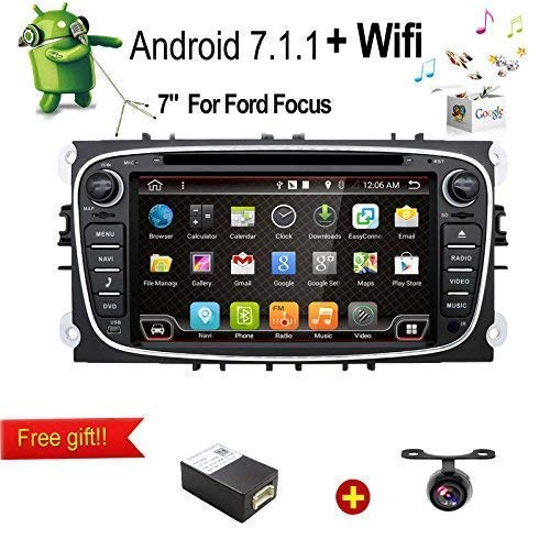 Android 7.1 Quad-Core WiFi Model 7 'Full Touch Screen Ford Focus Car DVD CD Player GPS 2 DIN Stereo GPS Navigation Free Camera, Canbus, Black Color